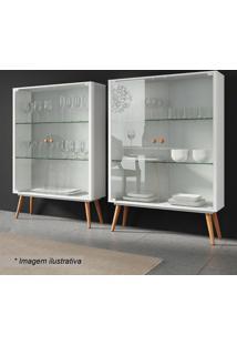 Cristaleira Valentinna- Branco Fosco & Marrom Claro-Artesano Moveis