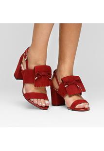 Sandália Couro Shoestock Franjas Feminina - Feminino-Vinho