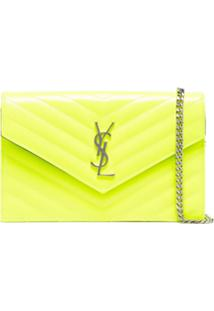 Saint Laurent Clutch Envelope Com Monograma - Amarelo