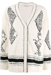 Mrz Oversized V-Neck Cardigan - Branco
