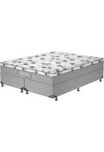 Cama Box Queen Firme Gray - Probel - Branco / Cinza