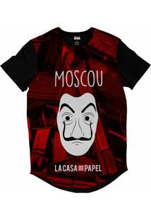 Camiseta Longline Attack Life La Casa De Papel Moscou Sublimada Vermelho