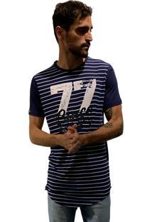 Camiseta 775 Listrada Alongada Marinho