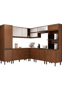 Cozinha Compacta Com 17 Portas E 2 Gavetas Vicenza – Visão Móveis - Dakar / Branco
