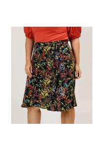 Saia Plus Size Feminina Midi Floral Marisa