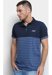 Camisa Polo Fatal Listrada Masculina - Masculino-Azul+Marinho