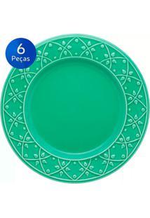 Conjunto De Pratos Rasos 6 Peças Mendi Salvia - Oxford - Verde