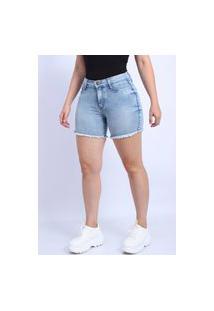 Bermuda Jeans Frozini Feminina Lycra Short Jeans Cintura Alta Pins Laterais