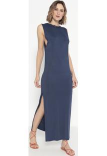 Vestido Liso Com Fenda- Azul Marinho- Cotton Colors Cotton Colors Extra