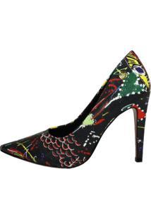 Scarpin Salto Alto Week Shoes Estampa Louboutin Preto
