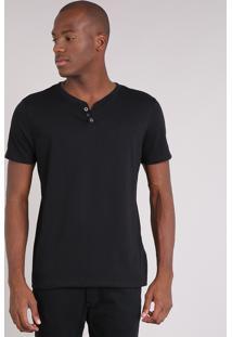 Camiseta Masculina Básica Com Botões Manga Curta Gola Careca Preta