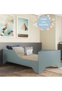 Cama Solteiro Com Colchão 100% Mdf Sonho Multimóveis Azul