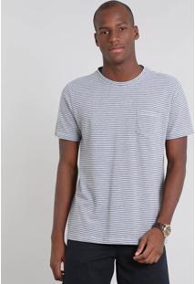 Camiseta Masculina Em Piquet Listrada Com Bolso Manga Curta Cinza Mescla