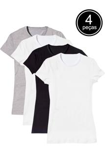 Camiseta Básica Baby Look Gola Redonda Kit 4 Peças Colors