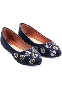 Sapatilha Camurça Mizzi Shoes Bordado Folhas Feminina - Feminino-Marinho