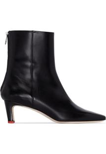 Aeyde Ankle Boot Ivy De Couro - Preto