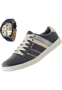 Sapatênis Cr Shoes Leve E Baixo Azul Com Relógio