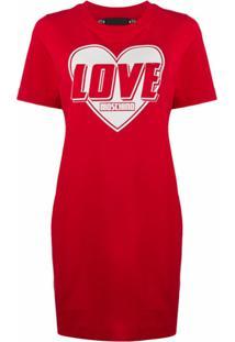 Love Moschino Vestido Reto Com Estampa De Logo - Vermelho