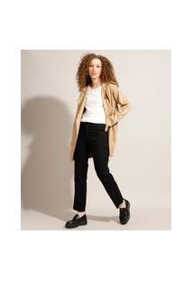 Calça Reta Jeans Com Recorte Cintura Alta Sawary Preta