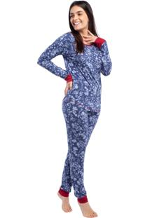 Pijama Feminino De Inverno Flores Jeans Com Punho Vermelho - Kanui