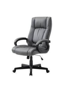 Cadeira Office Galiza Courino Cinza Base Nylon - 53088 Cinza