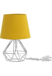 Abajur Diamante Dome Amarelo Mostarda Com Aramado Cromado - Prata - Dafiti