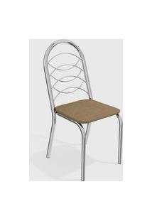 Kit 2 Cadeiras Holanda Cromada De Metal Capuccino Kappesberg Prata/Bege