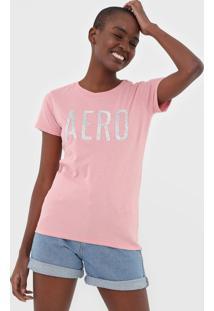 Camiseta Aeropostale Paetês Rosa - Kanui