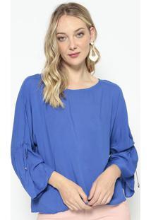 Blusa Acetinada Com Canaleta - Azul Royal - Morena Rmorena Rosa
