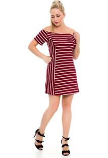 Vestido Blankrosê Ombro A Ombro Listrado - Feminino-Vinho