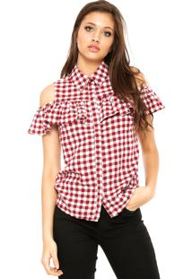 Camisa Facinelli By Mooncity Babado Vermelha