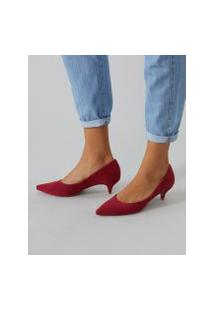 Amaro Feminino Scarpin Básico Salto Baixo, Vermelho