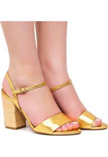 Sandália Vicenza Salto Amadeirado Dourado