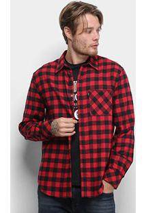 Camisa Ellus Wool Touch Xadrez Manga Longa Masculina - Masculino-Vermelho