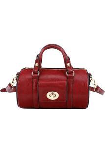 Bolsa Ba㺠Texturizada- Vermelho Escuro- 12X21X12Cm