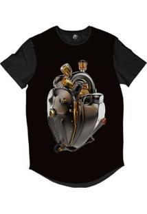 Camiseta Longline Bsc Coração De Máquina Motor Bronze Sublimada Masculina - Masculino-Preto