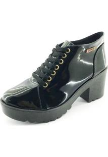 Bota Quality Shoes Tratorada Verniz Feminina - Feminino-Preto