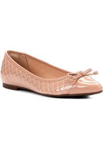 Sapatilha Shoestock Matelassê Bico Fino Laço Feminina - Feminino-Rosa Claro