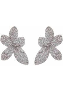 Brinco Narcizza Prata Semijoias Flor Cravejado Com Micro Zircônia Cristal Ródio