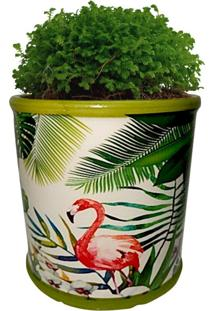 Cachepot Urban Home De Cerâmica Verde Redondo Green Leaves 40392 N