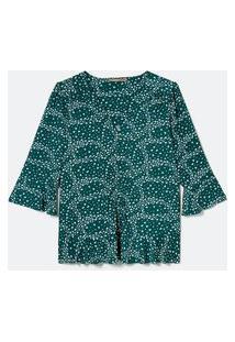 Blusa De Jersey Com Botões E Babados Curve & Plus Size | Ashua Curve E Plus Size | Verde | G
