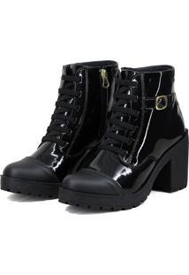 Bota Magi Shoes Tratorada Verniz Preta