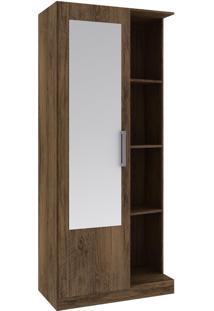 Armário Multiuso 1 Porta 3 Prateleiras 26Mu1004 Com Espelho Cacau - Rodial
