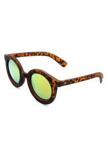 Óculos Solar Prorider Retrô Marrom Animal Print Com Lente Espelhada Amarela - Ap365247