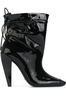 Tom Ford Ankle Boot De Couro Envernizado - Preto