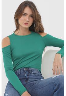 Blusa Morena Rosa Canelada Off Shoulder Verde - Kanui