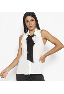 Camisa Com Gola Laã§O - Branca & Pretalinho Fino