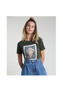 Blusa Feminina Van Gogh Manga Curta Decote Redondo Verde Militar