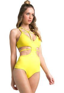 Body Com Recortes Vazados- Amarelo- Vestemvestem
