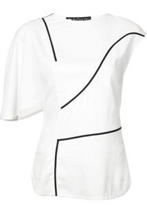 Valery Kovalska Blusa Assimétrica Com Contraste - Branco